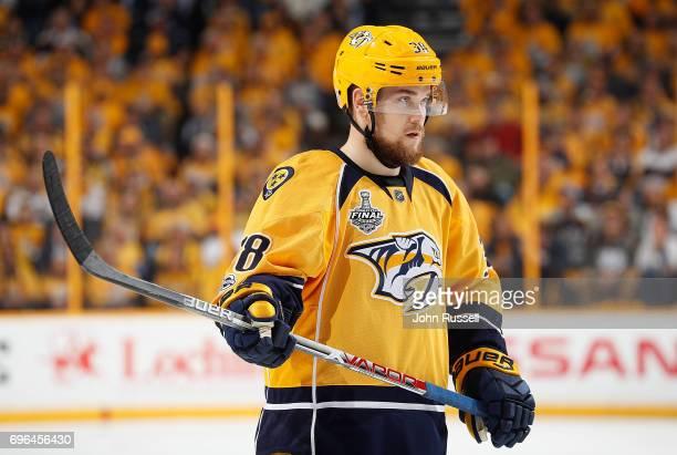 Viktor Arvidsson of the Nashville Predators skates against the Pittsburgh Penguins during Game Three of the 2017 NHL Stanley Cup Final at Bridgestone...