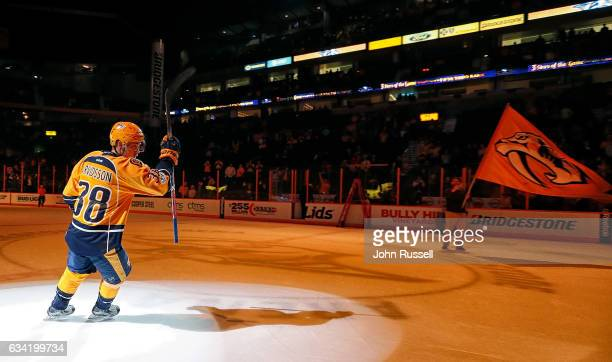 Viktor Arvidsson of the Nashville Predators skates as first star of the game after a 42 win against the Vancouver Canucks during an NHL game at...