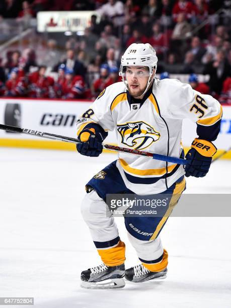 Viktor Arvidsson of the Nashville Predators skates during the NHL game against the Montreal Canadiens at the Bell Centre on March 2 2017 in Montreal...