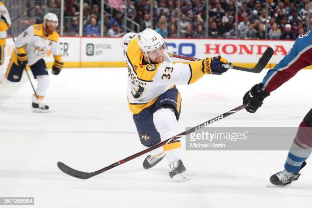 Viktor Arvidsson of the Nashville Predators takes a shot against the Colorado Avalanche in Game Three of the Western Conference First Round during...