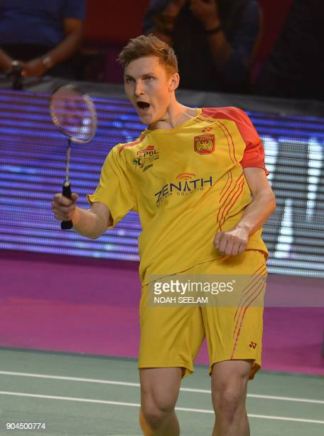 Viktor Axelsen of Bengaluru Blasters celebrates after winning match against to HSPrannoy of Ahmedabad Smash Masters during their men singles second...