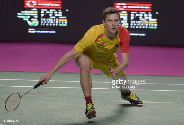 Viktor Axelsen of Bengaluru Blasters plays a shot to HSPrannoy of Ahmedabad Smash Masters during their men singles second semi final match of the...