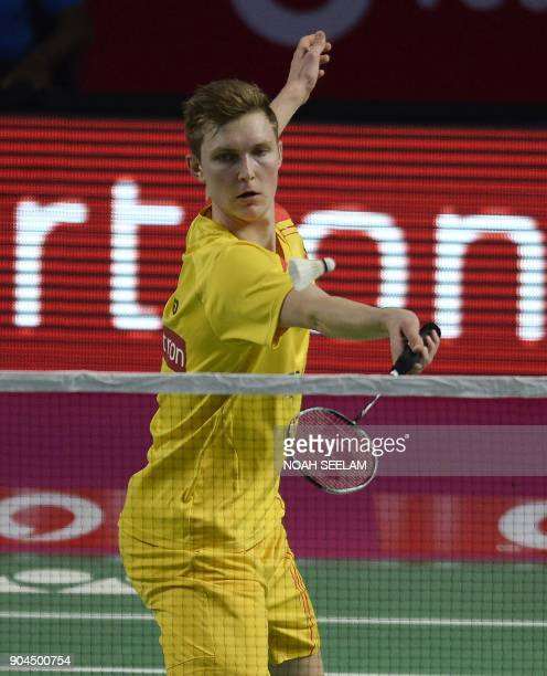 Viktor Axelsen of Bengaluru Blasters returns to HSPrannoy of Ahmedabad Smash Masters during their men singles second semi final match of the Vodafone...