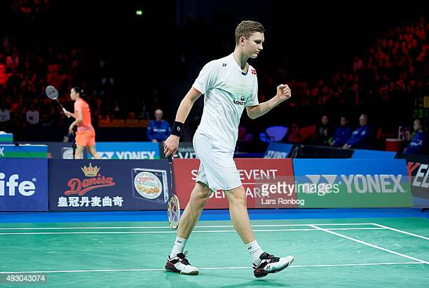 Viktor Axelsen of Denmark celebrates a point during his match against Chen Long of China in the Semifinals at the MetLife BWF World Superseries...