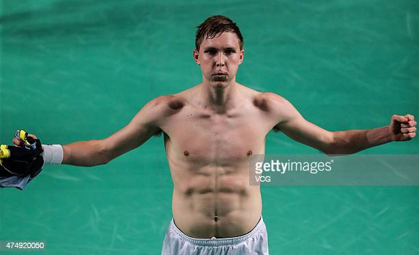 Viktor Axelsen of Denmark celebrates after winning the Men's Singles match against Lin Dan of China on day two of 2015 the Star Australian Badminton...