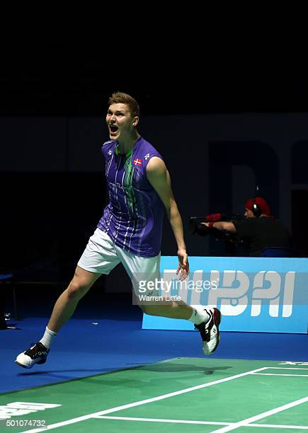 Viktor Axelsen of Denmark celebrates beating Chen Long of China in the Men's semi final match during day four of the BWF Dubai World Superseries 2015...