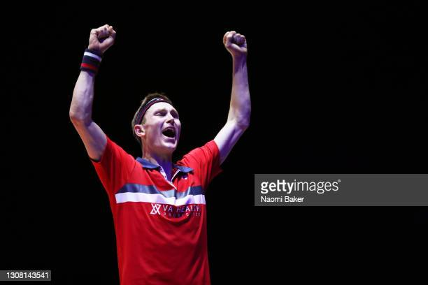Viktor Axelsen of Denmark celebrates match point after his Men's Singles semi final against Anders Antonsen during day four of YONEX All England Open...
