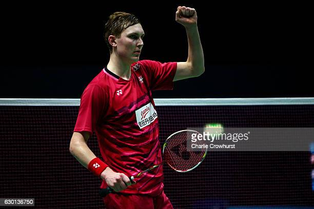 Viktor Axelsen of Denmark celebrates winning his mens semi final match against Son Wan Ho of Korea on Day Four of the BWF Dubai World Superseries...