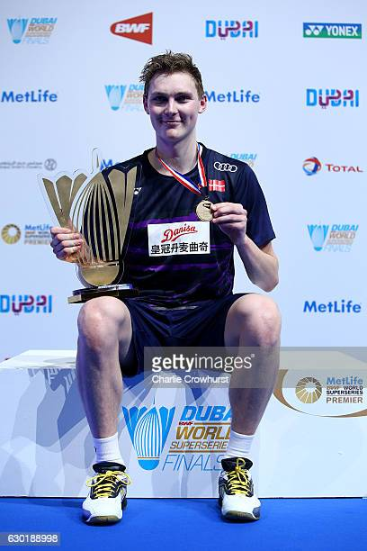 Viktor Axelsen of Denmark celebrates winning the mens final match against Tian Houwei of China on Day Five of the BWF Dubai World Superseries Finals...