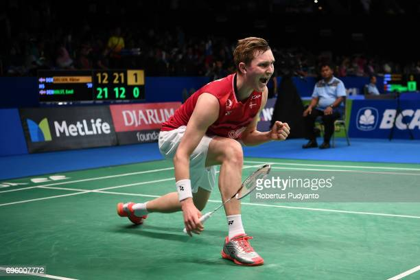 Viktor Axelsen of Denmark competes against Emil Holst of Denmark during Mens Single Round 2 match of the BCA Indonesia Open 2017 at Plenary Hall...