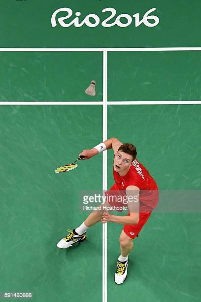 Viktor Axelsen of Denmark competes against Rajiv Ouseph of Great Britain during the Men's Singles Quarterfinal Badminton match on Day 12 of the Rio...