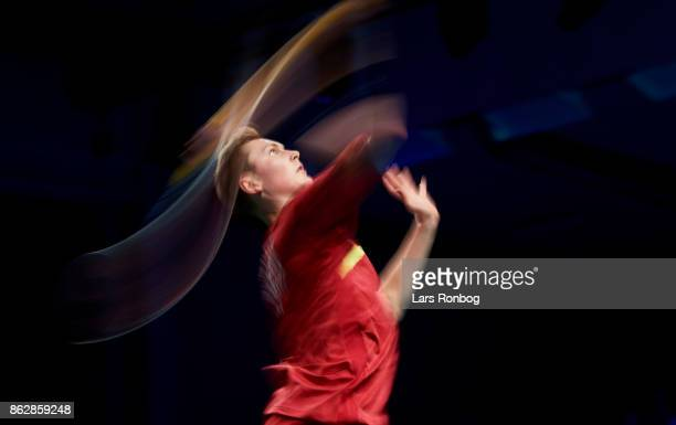 Viktor Axelsen of Denmark in action during the day one at the DANISA Denmark Open Badminton tournament at Odense Idratshal on October 18 2017 in...