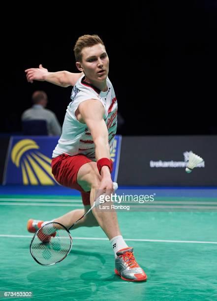 Viktor Axelsen of Denmark in action during the European Badminton Championships at Sydbank Arena on April 26 2017 in Kolding Denmark