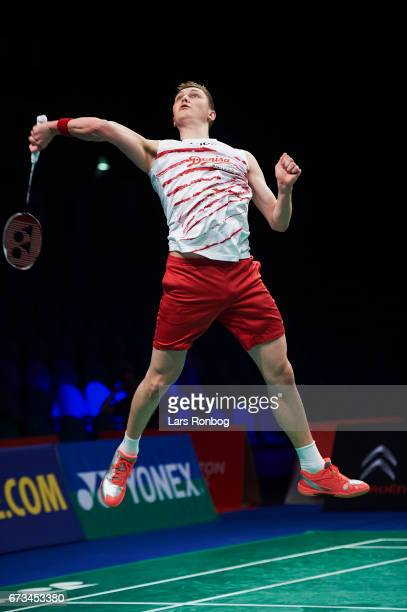 Viktor Axelsen of Denmark in action during the European Badminton Championships at Sydbank Arena on April 26 2017 in Kolding Denmark