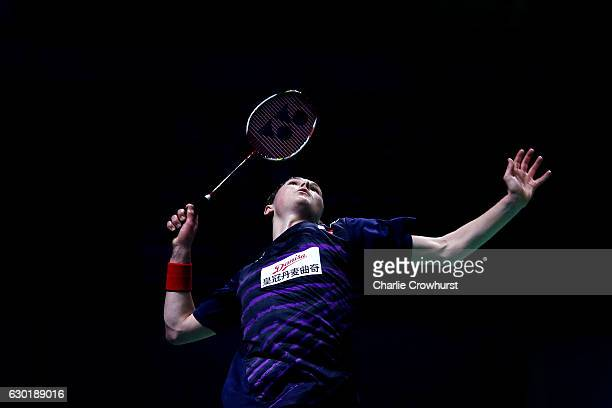 Viktor Axelsen of Denmark in action during the mens final match against Tian Houwei of China on Day Five of the BWF Dubai World Superseries Finals on...