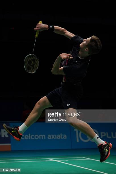 Viktor Axelsen of Denmark in action on day four of the Badminton Malaysia Open at Axiata Arena on April 05 2019 in Kuala Lumpur Malaysia