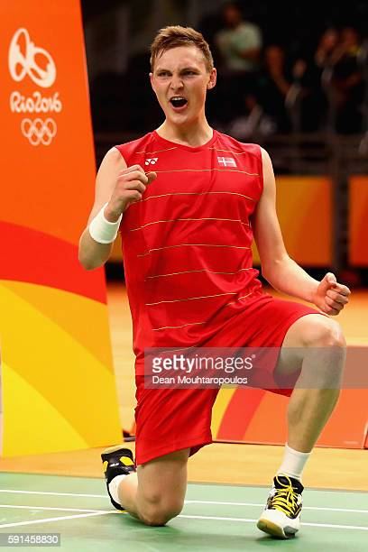 Viktor Axelsen of Denmark reacts after defeating Rajiv Ouseph of Great Britain during the Men's Singles Quarterfinal Badminton match on Day 12 of the...