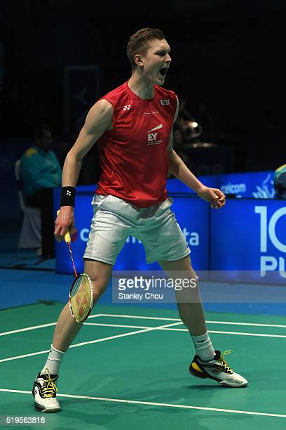 Viktor Axelsen of Denmark reacts after he defeated Tanongsak Saensonboomsak of Thailand during day three of the Men Singles during the BWF World...