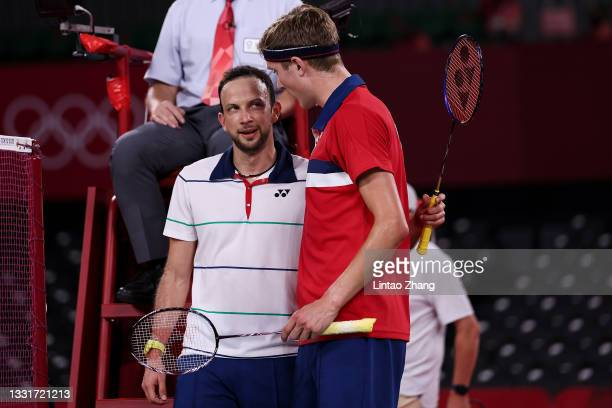 Viktor Axelsen of Team Denmark greets his opponent Kevin Cordon of Team Guatemala after winning a Men's Singles Semi-final match on day nine of the...