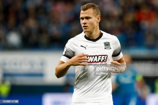 Viktor Claesson of FC Krasnodar looks on during the Russian Premier League match between FC Zenit Saint Petersburg and FC Krasnodar on October 7 2018...