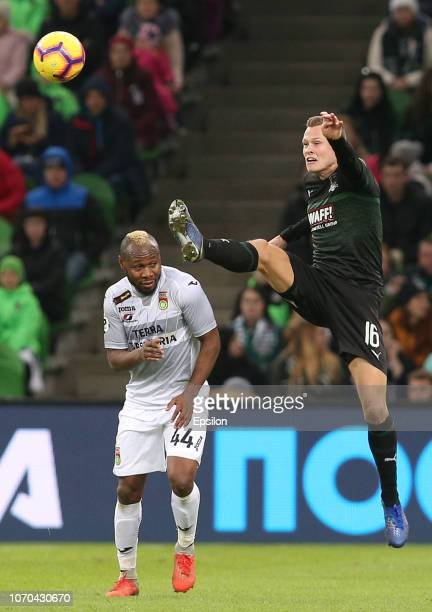 Viktor Claesson of FC Krasnodar vies for the ball with Sylvester Igboun of FC Ufa during the Russian Premier League match between FC Krasnodar v FC...