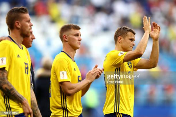 Viktor Claesson of Sweden acknowledges the fans following the 2018 FIFA World Cup Russia Quarter Final match between Sweden and England at Samara...