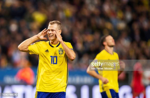 Viktor Claesson of Sweden dejected during the UEFA Nations League B group two match between Sweden and Turkey on September 10 2018 at Friends Arena...