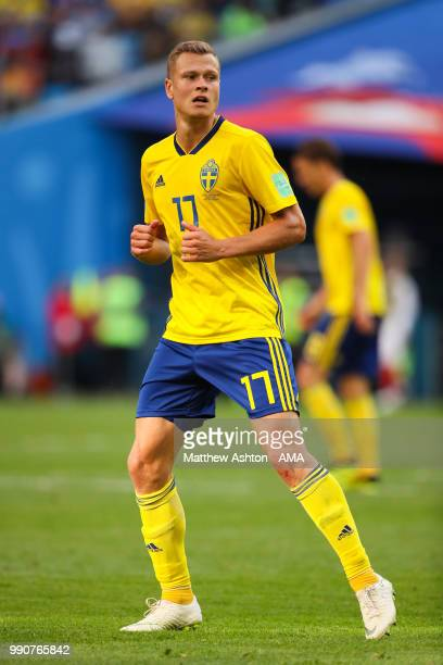 Viktor Claesson of Sweden in action during the 2018 FIFA World Cup Russia Round of 16 match between Sweden and Switzerland at Saint Petersburg...