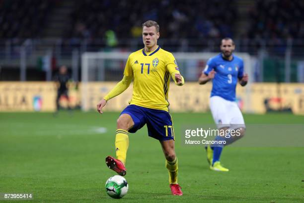 Viktor Claesson of Sweden in action during the FIFA 2018 World Cup playoff Qualifier match between Italy and Sweden Aggregate result Sweden wins 10...