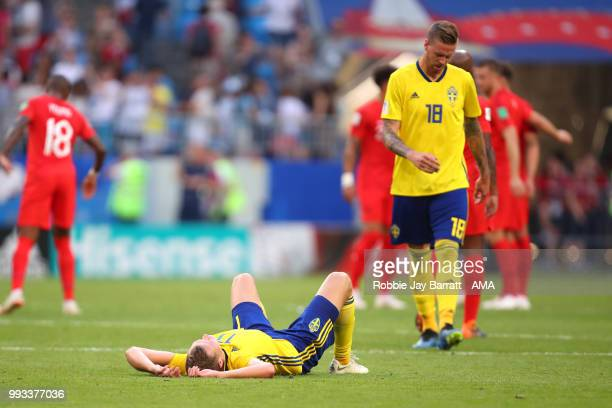 Viktor Claesson of Sweden looks dejected at the end of the 2018 FIFA World Cup Russia Quarter Final match between Sweden and England at Samara Arena...