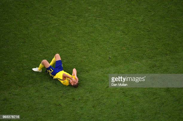 Viktor Claesson of Sweden looks dejected following his sides defeat in the 2018 FIFA World Cup Russia Quarter Final match between Sweden and England...