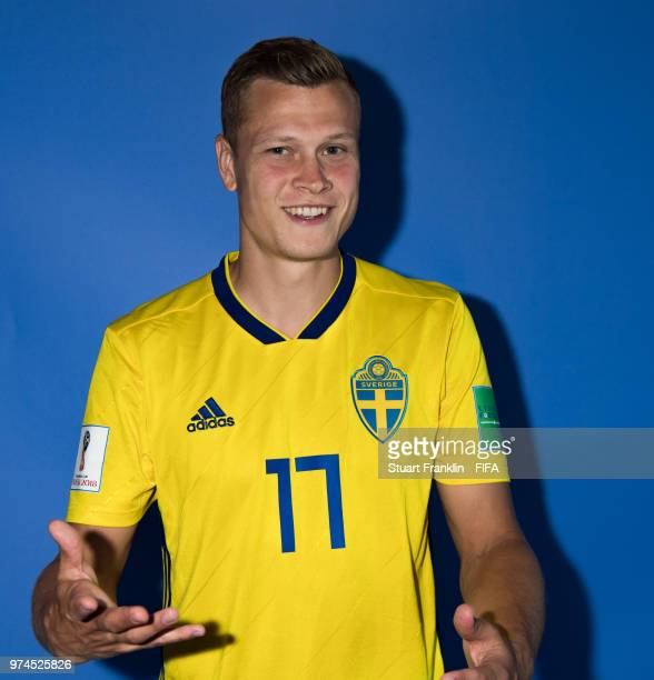 Viktor Claesson of Sweden poses for a photograph during the official FIFA World Cup 2018 portrait session at on June 13 2018 in Gelendzhik Russia
