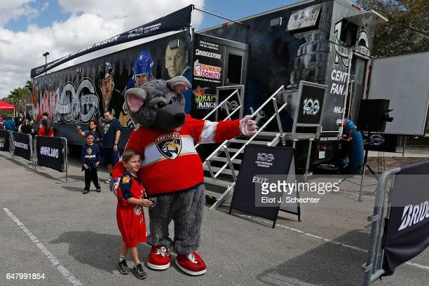 Viktor E. Ratt and a hockey fan out side of the NHL Centennial Fan Arena Museum at the BB&T Center on March 4, 2017 in Sunrise, Florida.