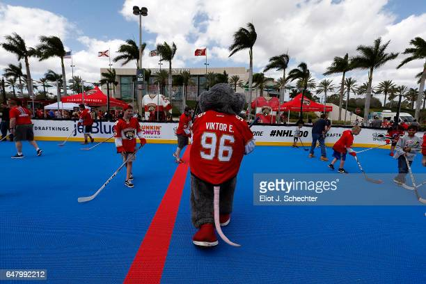 Viktor E. Ratt gets set to play ball hockey out side of the NHL Centennial Fan Arena Museum at the BB&T Center on March 4, 2017 in Sunrise, Florida.