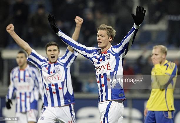 Viktor Elm of SC Heerenveen cheers after scoring against FK Ventspils in the Europa League match in Heerenveen The Netherlands on December 16 2009...