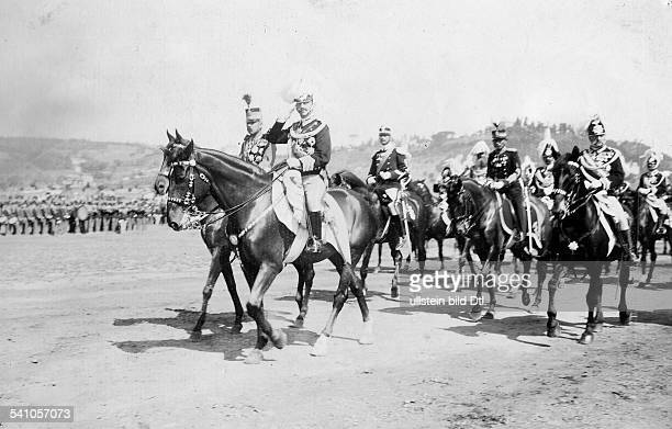 Viktor Emanuel III King of Italy*11111869 ending a parade the king is taking the salute of his troops undated Photographer AbeniacarVintage property...