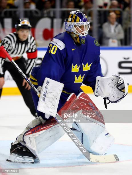 Viktor Fasth goaltender of Sweden tends net during the 2017 IIHF Ice Hockey World Championship game between Germany and Sweden at Lanxess Arena on...