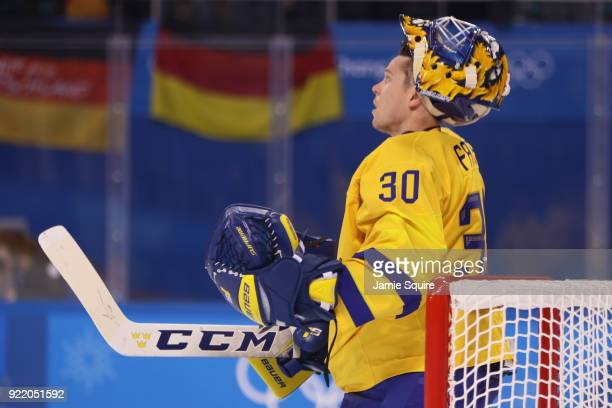 Viktor Fasth of Sweden looks on during the game against Germany during the Men's Playoffs Quarterfinals game on day twelve of the PyeongChang 2018...
