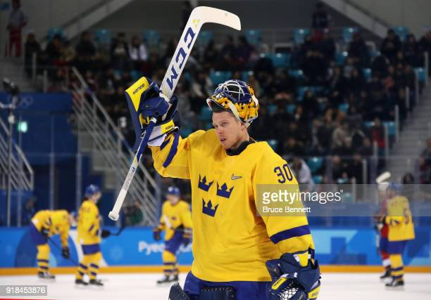 Viktor Fasth of Sweden looks on during the Men's Ice Hockey Preliminary Round Group C game between Norway and Sweden on day six of the PyeongChang...
