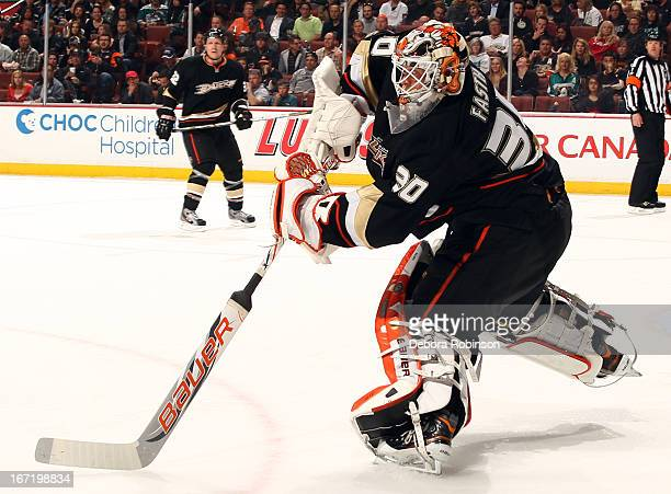Viktor Fasth of the Anaheim Ducks clears the puck during the game against the Columbus Blue Jackets on April 17 2013 at Honda Center in Anaheim...