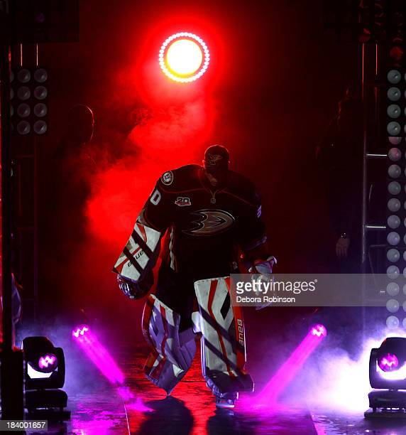 Viktor Fasth of the Anaheim Ducks is introduced before facing the New York Rangers at Honda Center on October 10 2013 in Anaheim California