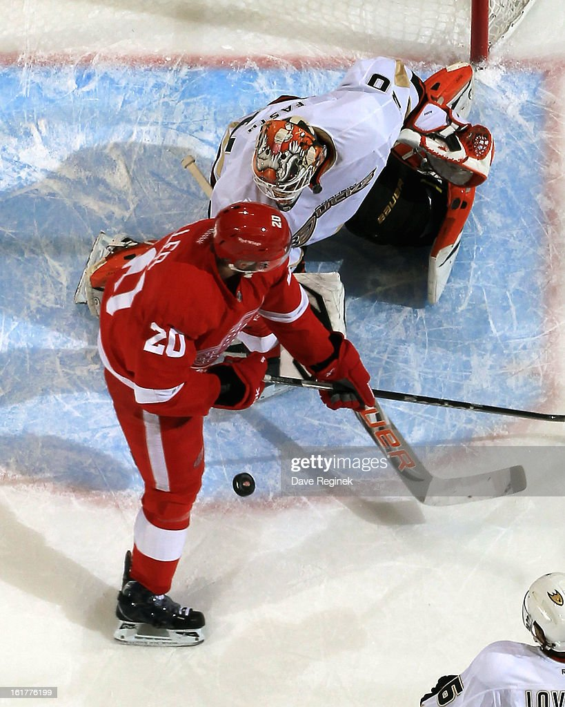 Viktor Fasth #30 of the Anaheim Ducks makes a save while Drew Miller #20 of the Detroit Red Wings tries to screen him during a NHL game on February 15, 2013 at Joe Louis Arena in Detroit, Michigan. Anaheim defeated Detroit 5-2