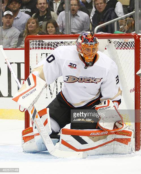 Viktor Fasth of the Anaheim Ducks protects the net against the Pittsburgh Penguins during the game at Consol Energy Center on November 18, 2013 in...