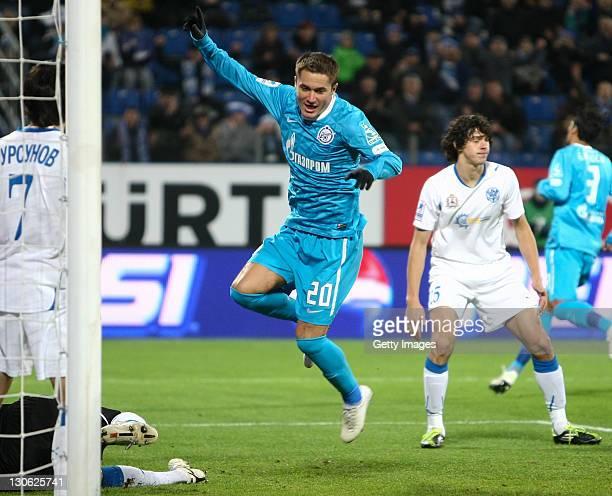 Viktor Fayzulin of FC Zenit St Petersburg celebrates his goal during the Russian Football League Championship match between FC Zenit St Petersburg...