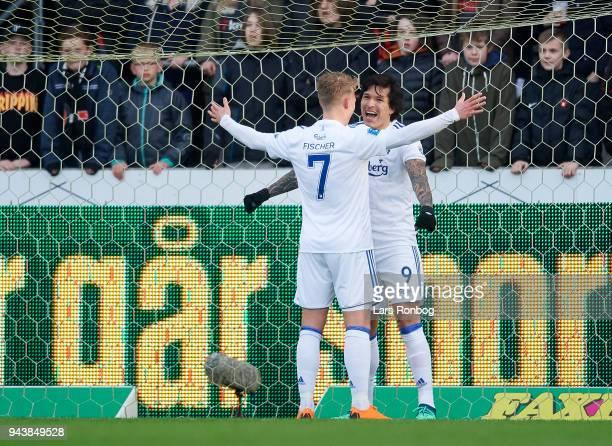 Viktor Fischer and Federico Santander of FC Copenhagen celebrate after scoring their first goal during the Danish Alka Superliga match between FC...