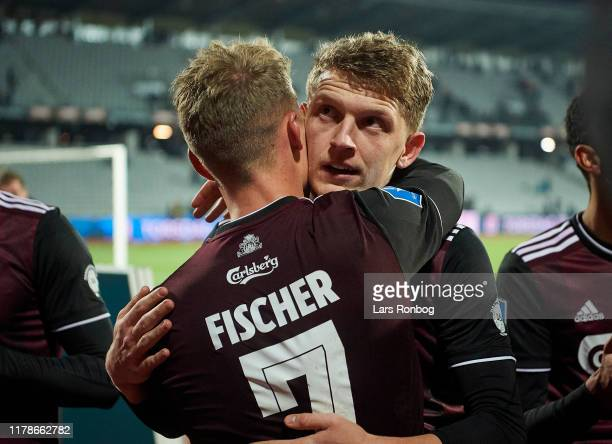 Viktor Fischer and Jens Stage of FC Copenhagen celebrate after the Danish 3F Superliga match between AGF Aarhus and FC Copenhagen at Ceres Park on...