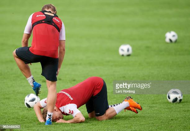 Viktor Fischer and Kasper Dolberg of Denmark joking during the Denmark training session Helsingor Stadion on May 28 2018 in Helsingor Denmark