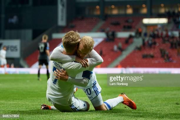 Viktor Fischer and Nicolai Boilesen of FC Copenhagen celebrate after scoring their second goal during the Danish Alka Superliga match between FC...
