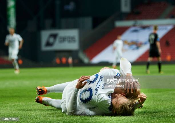 Viktor Fischer and Nicolai Boilesen of FC Copenhagen celebrate after scoring their second goal during the Danish Alka Superliga match between FC...