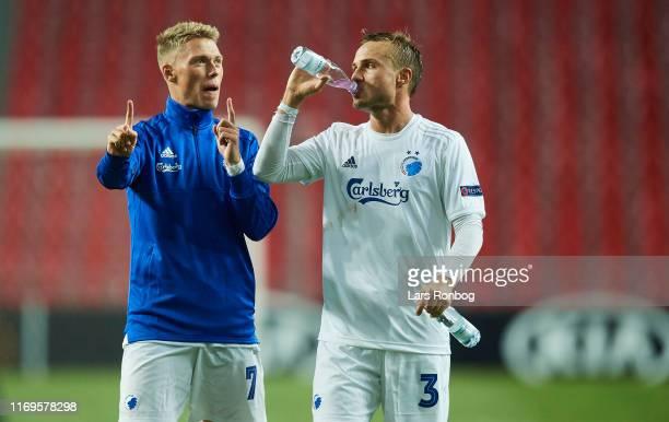 Viktor Fischer and Pierre Bengtsson of FC Copenhagen talking after the UEFA Europa League match between FC Copenhagen and FC Lugano at Telia Parken...